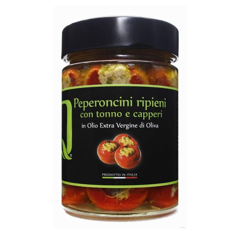 Peperoncini ripieni Tonno e Capperi in Olio extra vergine di oliva - Quattrociocchi - 320gr