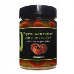 Peperoncini ripieni Olive Acciughe e Capperi in Olio extra vergine di oliva -...